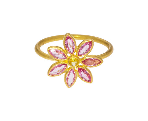 Pink and Yellow Sapphire Marguerite Ring