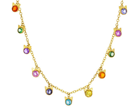 Mixed Gem Dancing Cat Necklace - TWISTonline