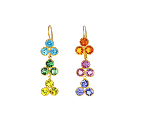 Small Rainbow Bollywood Jali Earrings