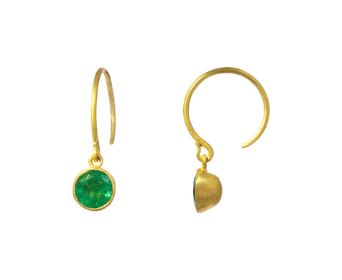 Small Emerald Bindi Hoop Earrings