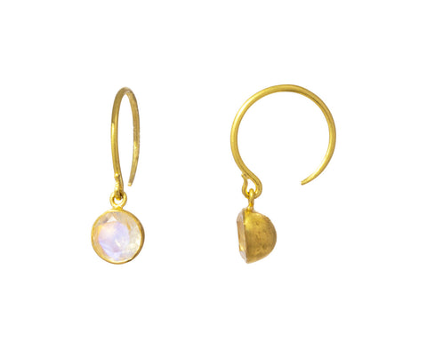 Rainbow Moonstone Small Bindi Hoop Earrings - TWISTonline