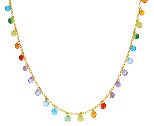 Rainbow Brilliant Dangling Stone Necklace