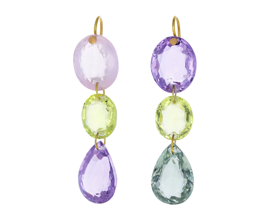 Multicolored Pastel Gem Drop Earrings
