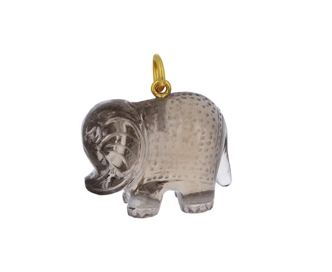 Smokey Quartz Elephant Charm Pendant ONLY