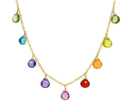 Rainbow Gem Dangling Briolette Necklace - TWISTonline