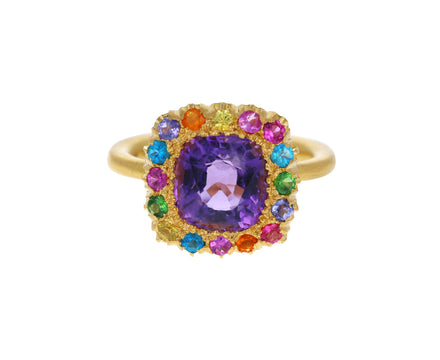 Amethyst and Rainbow Sapphire Princess D Marguerite Ring
