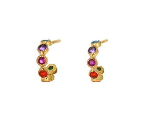 Rainbow Mini Bollywood Hoop Earrings