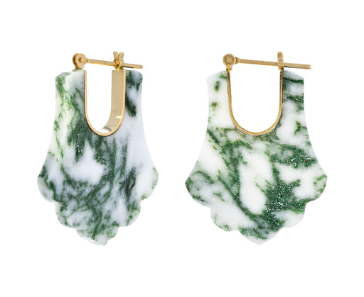 White Moss Agate Crest Hoops - TWISTonline