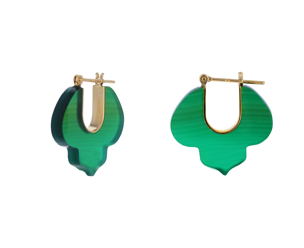 Green Agate Crest Earrings