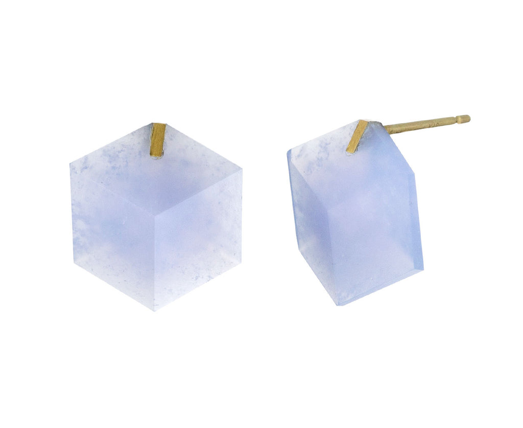 Blue Chalcedony Cube Earrings
