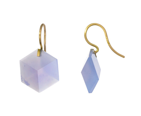 Blue Chalcedony Cube Drop Earrings