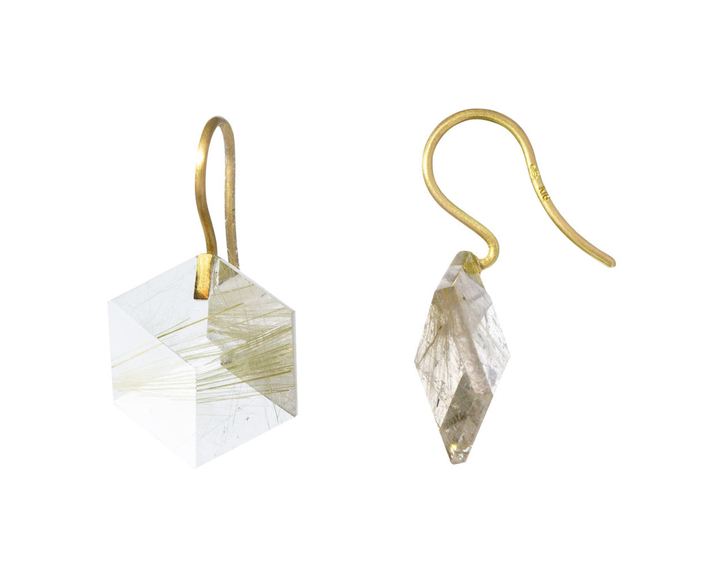 Rutilated Quartz Cube Drop Earrings