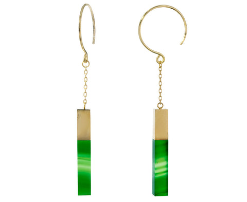 Banded Green Agate Stick Hoop Dangles