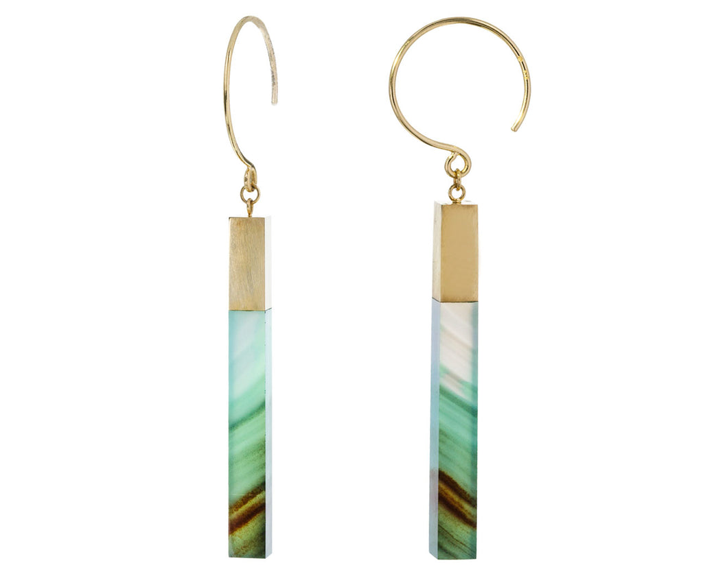 Sea Blue Chalcedony Stick Hoop Dangles