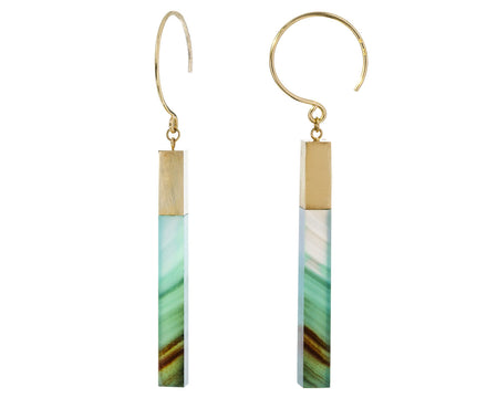 Sea Blue Chalcedony Stick Hoop Dangles - TWISTonline