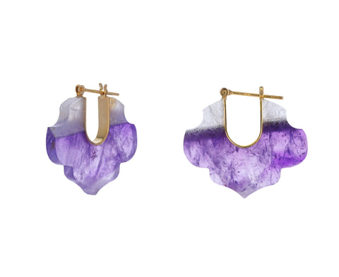 Bi-Color Amethyst Crest Hoop Earrings