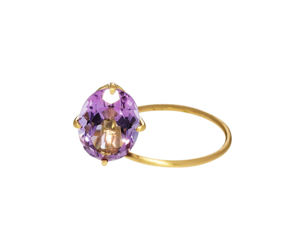Pink Amethyst Fall in Drops Ring
