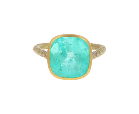 Square Colombian Emerald Ring