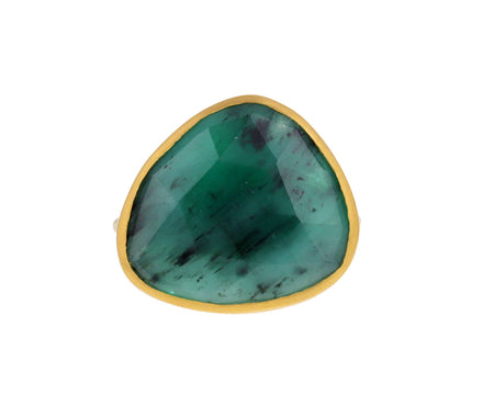 Asymmetrical Emerald Slice Ring