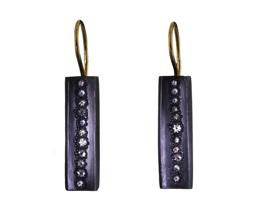 Concave Rectangle Earrings with Inverted Diamonds - TWISTonline