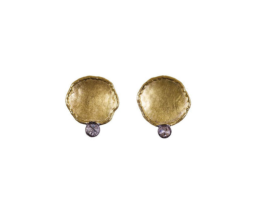 Gold Cup Earrings with Inverted Diamonds - TWISTonline