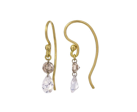 Mixed Double Diamond Earrings zoom 1_todd_pownell_gold_pear_round_diamond_earrings