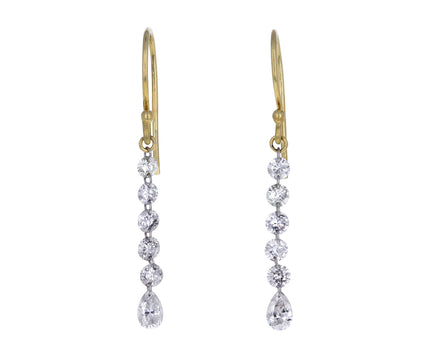 Round and Pear Shaped Diamond Dangle Earrings