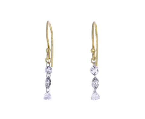 Mixed Diamond Dangle Earrings