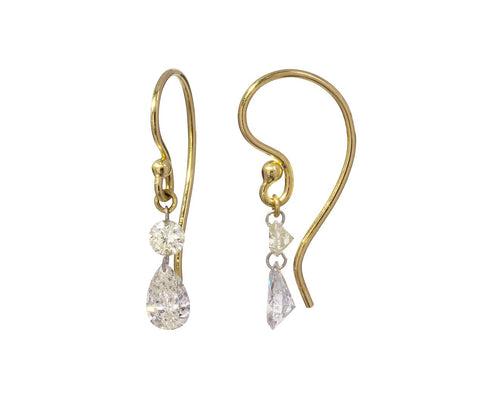 Round and Pear Shaped Diamond Duo Earrings zoom 1_todd_pownell_gold_free_set_diamond_earrings