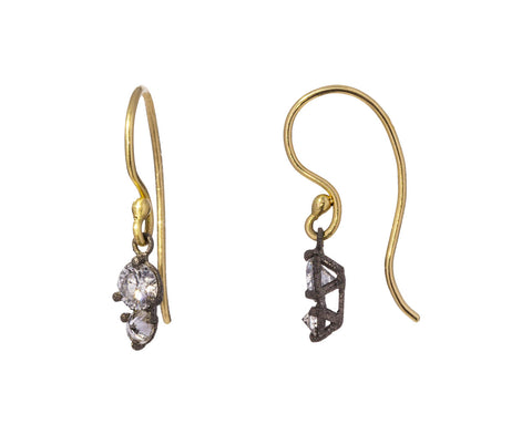 Double Diamond Drop Earrings