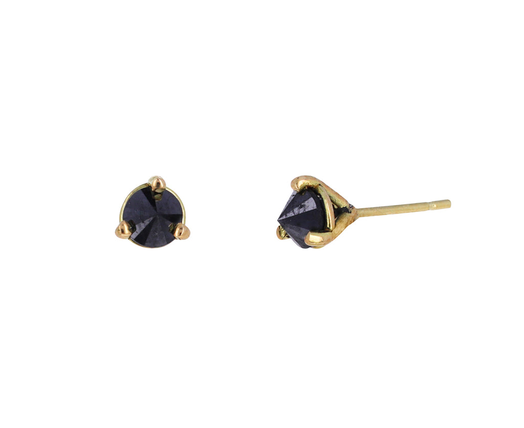 Small Inverted Black Diamond Stud Earrings