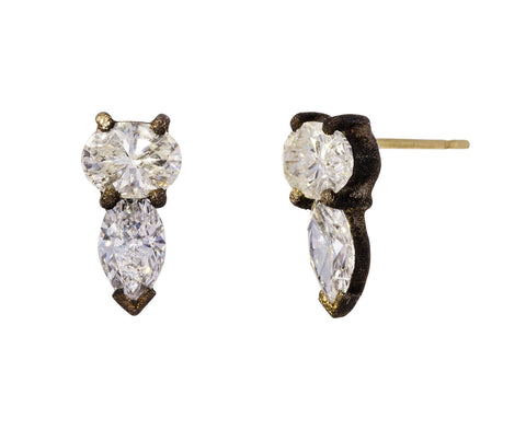 Marquise and Oval Diamond Stud Earrings