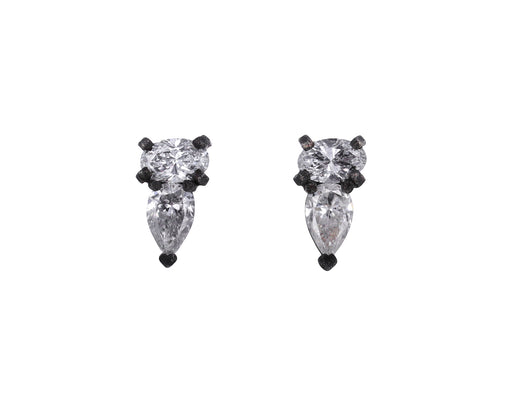 Oval and Pear Shaped Diamond Stud Earrings
