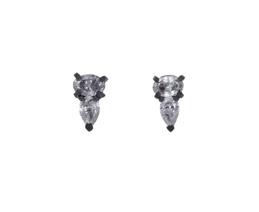 Small Oval and Pear Shaped Diamond Stud Earrings