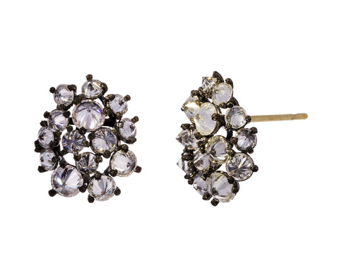 Inverted Diamond Cluster Stud Earrings