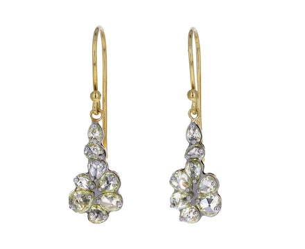 Light Yellow Rose Cut Diamond Cluster Earrings