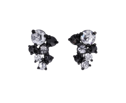 Mixed Diamond Cluster Stud Earrings