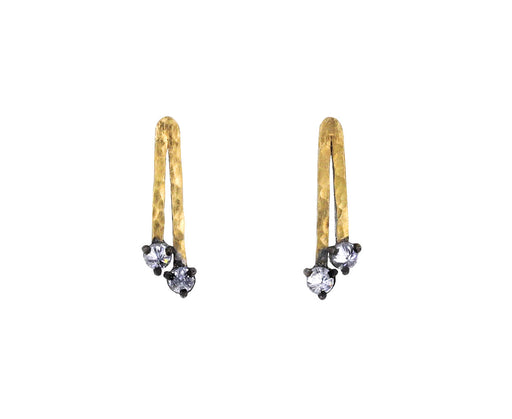 Double Gold Bar and Diamond Earrings