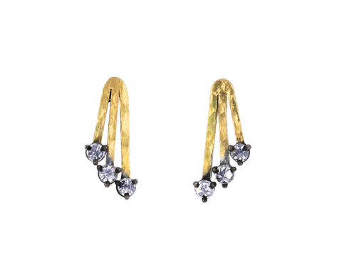 Radiating Gold and Diamond Bar Earrings