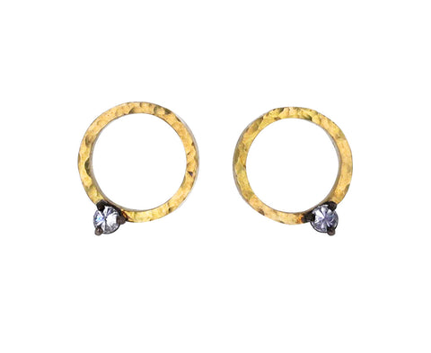 Inverted Diamond Circle Stud Earrings