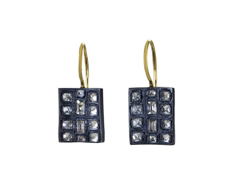 Inverted Diamond Drop Earrings  zoom 1_todd_pownell_gold_rectangle_inverted_diamond_ear