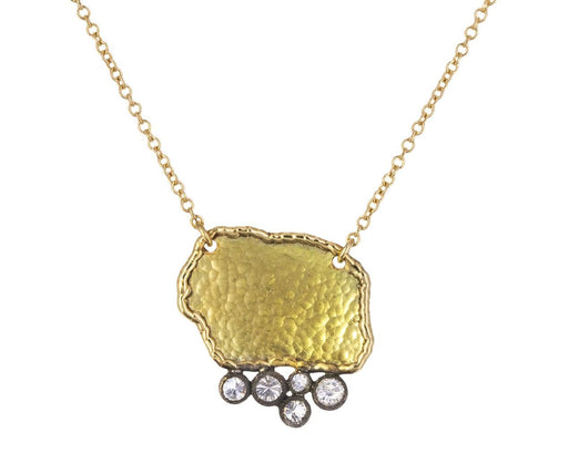 Gold and Five Inverted Diamond Pendant Necklace - TWISTonline