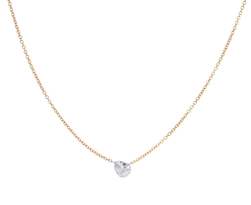 Sideways Free Set Pear Diamond Necklace