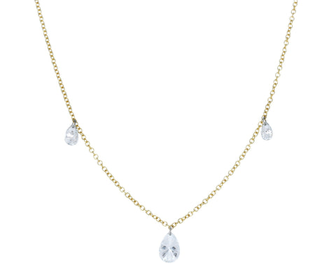 Free Set Triple Pear Shaped Diamond Necklace