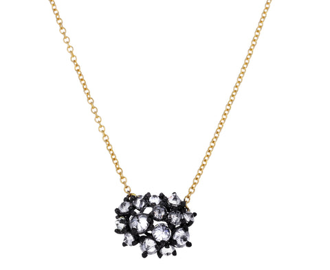 Inverted Diamond Roundish Cluster Necklace