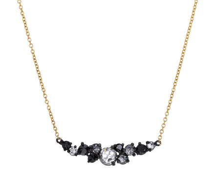 Rose Cut, Inverted and Black Diamond Cluster Necklace