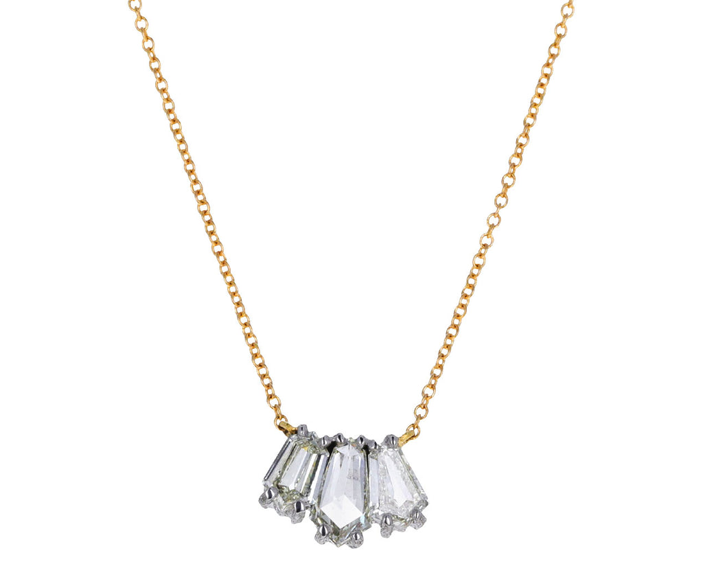 Triple Step Cut Diamond Pendant Necklace