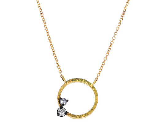 Inverted Diamond Circle Pendant Necklace