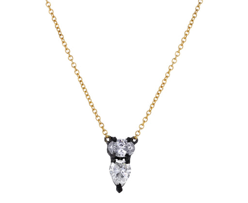 Oval and Pear Cut Diamond Pendant Necklace