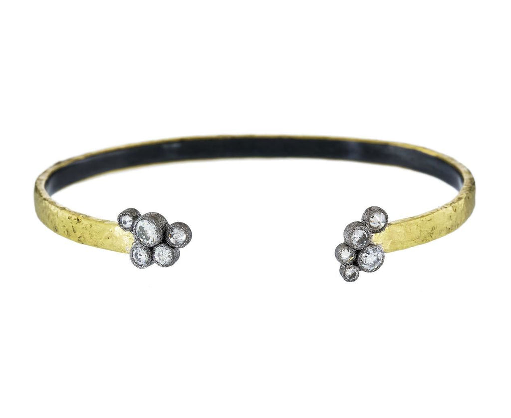 Yellow Gold Cuff with Diamond Clusters - TWISTonline